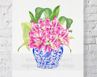 Pink Floral Watercolor Print - Blue and White Chinoiserie Print - Pink Hippies in Chinois Blue 11x14 Wall Art Print