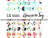 12 mm, Geometric, Watercolor, Pinterest inspired,Digital Download,Bottle cap images, cabochon,pattern,