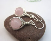 Rose quartz earrings -  wire wrapped gemstone earrings - pink earrings - wire wrapped earrings - sterling silver ear hooks