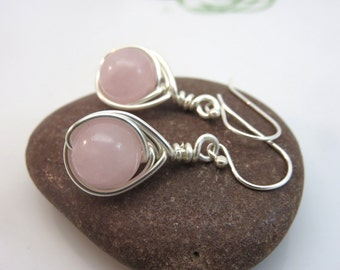 Rose quartz earrings - sterling silver wire wrapped gemstone earrings - pink earrings - wire wrapped earrings