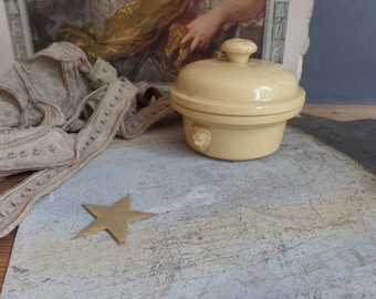vintage traditional french country earthenware pot for foie gras