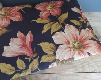 vintage large French fabric covered box  large flowers patterns Autumn colors