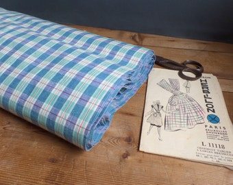 Unused vintage FRENCH fabric - soft blue and green colors tartan - hankerchief style