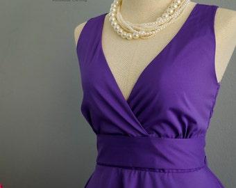 My Lady II Spring Summer Sundress Dress Royal Purple Party Dress Purple Bridesmaid Dress Garden Party Sundress Royal Purple Dresses XS-XL