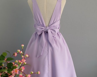 Pale lilac backless bridesmaid dresses