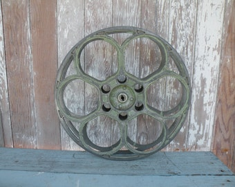 Vintage 1930's Goldberg Movie Reel Industrial Chic wall decor w/ green paint
