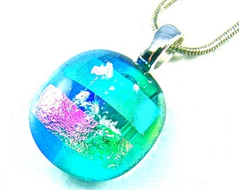 "Dichroic Pet Ashes Cremation Dangle Pendant - Blue Green Pink Turquoise Aqua Candy Drop Style, 3/4""/ 20mm, Custom Color Remembrance Jewelry"