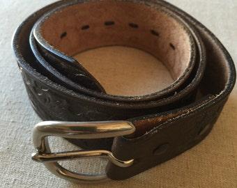 Vintage Leather Tooled Chocolate Brown Acorn Design Women's Belt
