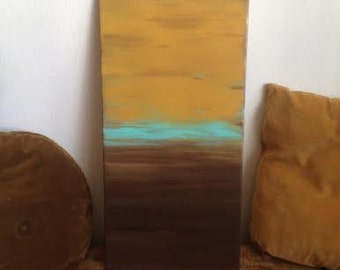 Into The Wild// Abstract Painting / Turqouise / Mustard / Brown / Rustic