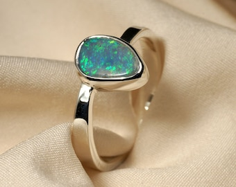 Opal Ring in Sterling Silver - Green Multicolor Fire - REDUCED PRICE