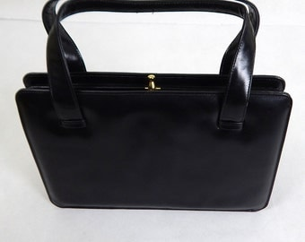 Original Vintage 1960s Black Leather Bag with Coin Purse