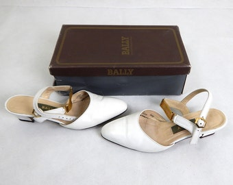 Vintage 1980s Bally White Leather Gold Straps Shoes UK 4.5