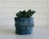 Reversible Mudcloth Planter with Fringe - Indigo Plant Cover - Fabric Plant Container - Boho Home Decor