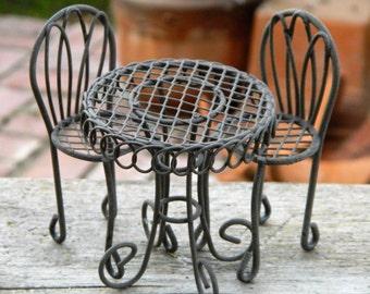 Fairy Garden Furniture Fairy Garden Miniature Bistro Miniature Table and Chairs Miniature Garden Dollhouse Miniature