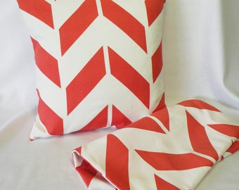 Pillow Covers - Set of Two 18 x 18 - Bright Orange and White - Chevron - Summer Pillow Shams
