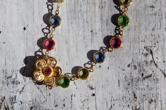 Spring Swarovski Sautoir Flower Bezel Necklace