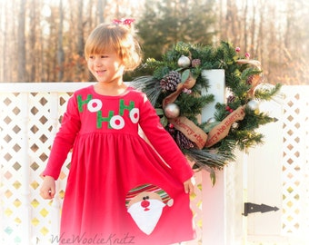 Christmas Dress - Personalized Dress with Santa Applique- Girls Santa Claus Dress -YOU DESIGN - Holiday Party Toddler