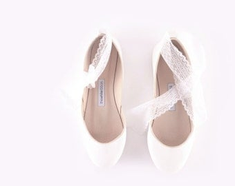 White Wedding Ballet Flats with Lace-up Ribbons| Bridal Shoes | Ribbon Lace Up Shoes | French lace...Made to Order