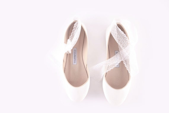 White Wedding Ballet Flats with Lace-up Ribbons| Bridal Shoes | Ribbon Lace Up Shoes | French lace...Ready to Ship