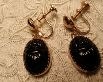 STYLISH Black Scarab Screwback Style Dangle Earrings VINTAGE