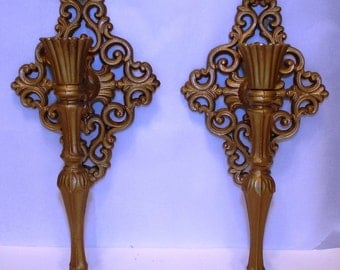 Wall Candle Sconces Gold Ornate Pair Metal Re-purpose Project Living Room Dining Room Decor Cottage Chic
