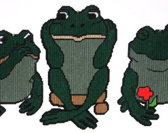 Set of No Evil Frogs Plastic Canvas Patterns