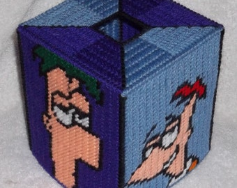 Phineas and Ferb Tissue Box Cover Plastic Canvas Pattern