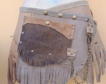 """20%OFF bohemian tribal gypsy fringed leather belt..29"""" to 37"""" waist or hips.."""