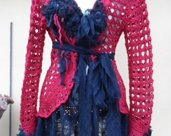 """20%OFF vintage inspired red crochet jacket with lace ruffles and shabby roses....small to 40"""""""