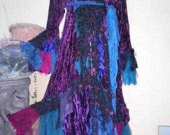 "gothic steampunk bohemian jacket gypsy coat hippy paisley velvet  ....work of art!! medium to 44"" bust...."
