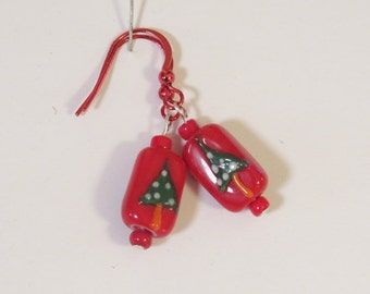 Earrings - Pierced - Lamp Glass Christmas Tree Beads - Red Fish Wires