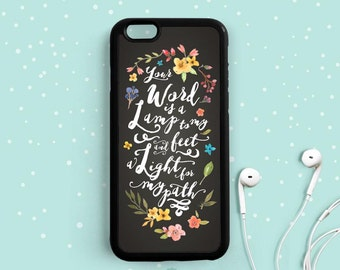 Bible Verse Quote iPhone Case, Your Word is a Lamp to My Feet, Psalms 119:105 , iPhone 6 7 Plus 5s 5c 4s Case, Samsung Galaxy s6 s5 s4 Qt78