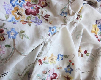 Shabby Beautiful Vintage Hand Worked Bed Cover 1940's. Explosion of Embroidered Floral Design. Remake. Repurpose. Sewing Craft.