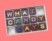 Personalize Mens Gift Long Distance Relationship Gift Idea Him Her Women Boss Her Box of Chocolate 15 pc Jelly Bean Chocolate Cube Letters