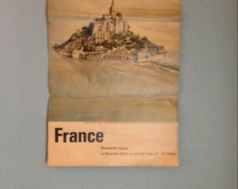 France travel agency poster vintage   french normandie manche printed in france