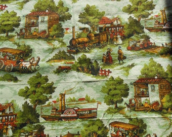 Bark Cloth Fabric, Old Town Scene, Greens and Brown