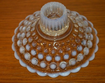 Moonstone Hobnail Low Taper Candle Holder