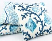Blue Seashell / Coral Pillow Cover 20x20, Ocean Pillow, Blue Cushion Cover, Blue Pillow, Throw Pillow, Toss Pillow, Reversible, Vitamin Sea