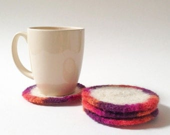 Wool Felted Coasters -  Circle Coasters / Hot Coaster / Cold Coaster / Drink Coasters / Purple / Orange / Cream / Pink - READY TO SHIP