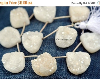 25% OFF SALE White Pearl Coated Quartz Druzy Top Drilled Heart Shape Briolettes 20 to 22mm -1/2 STRAND