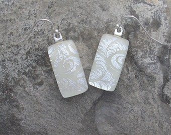 Ivory and Silver Earrings Fused Dichroic Glass White Earrings