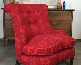 Custom Upholstered Mid Century Vintage Red Slipper Chair