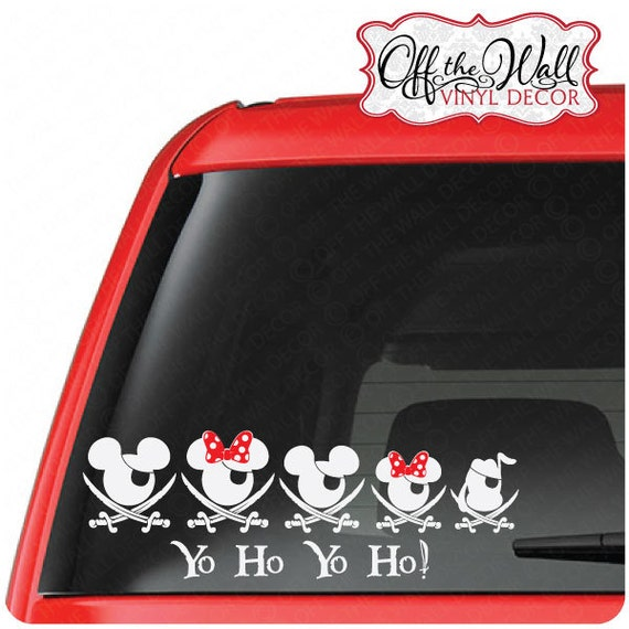 Customize-able Mickey & Minnie Pirate Family FOR: Cars / Trucks / Vehicle Vinyl Decal Sticker