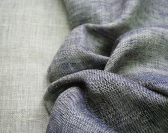 LINEN Fabric - DOUBLE face with softening-Blue melange and natural gray color