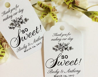 Starts at 50 Personalized Printed KRAFT WEDDING FAVOR So Sweet Tags