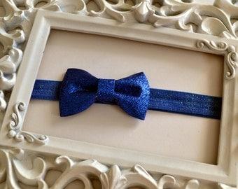 Bow Headband, Cobalt Blue Glitter Bow Headband, Hair Accessory, Birthday Accessory, New Baby Gift, Photo Prop