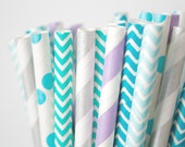 Teal, Purple and Silver Paper Straws . Mermaid Party Decor, Birthday Party Party Decorations,Frozen Winter Party, Cake Table