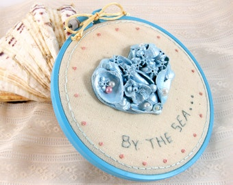 Embroidery Hoop Art, Seashore Embroidery, Recycled Seashells, Cottage Decor, Recycled Shell Art, Hoop Wall Art, Home Decor, Gift for Her