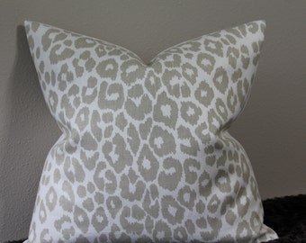 """F. Schumacher Iconic Leopard Print in the Linen Colorway - 16"""" - 24"""" Square and Lumbar Sizes - Decorative Designer Pillow Cover"""