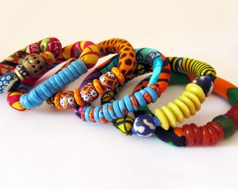 Boho Stacking Bracelet  - African fabric stretch bracelets -  recycled glass beads